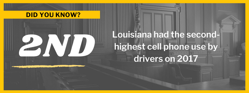 did you know Louisiana had the second-highest cell phone use by drivers on 2017