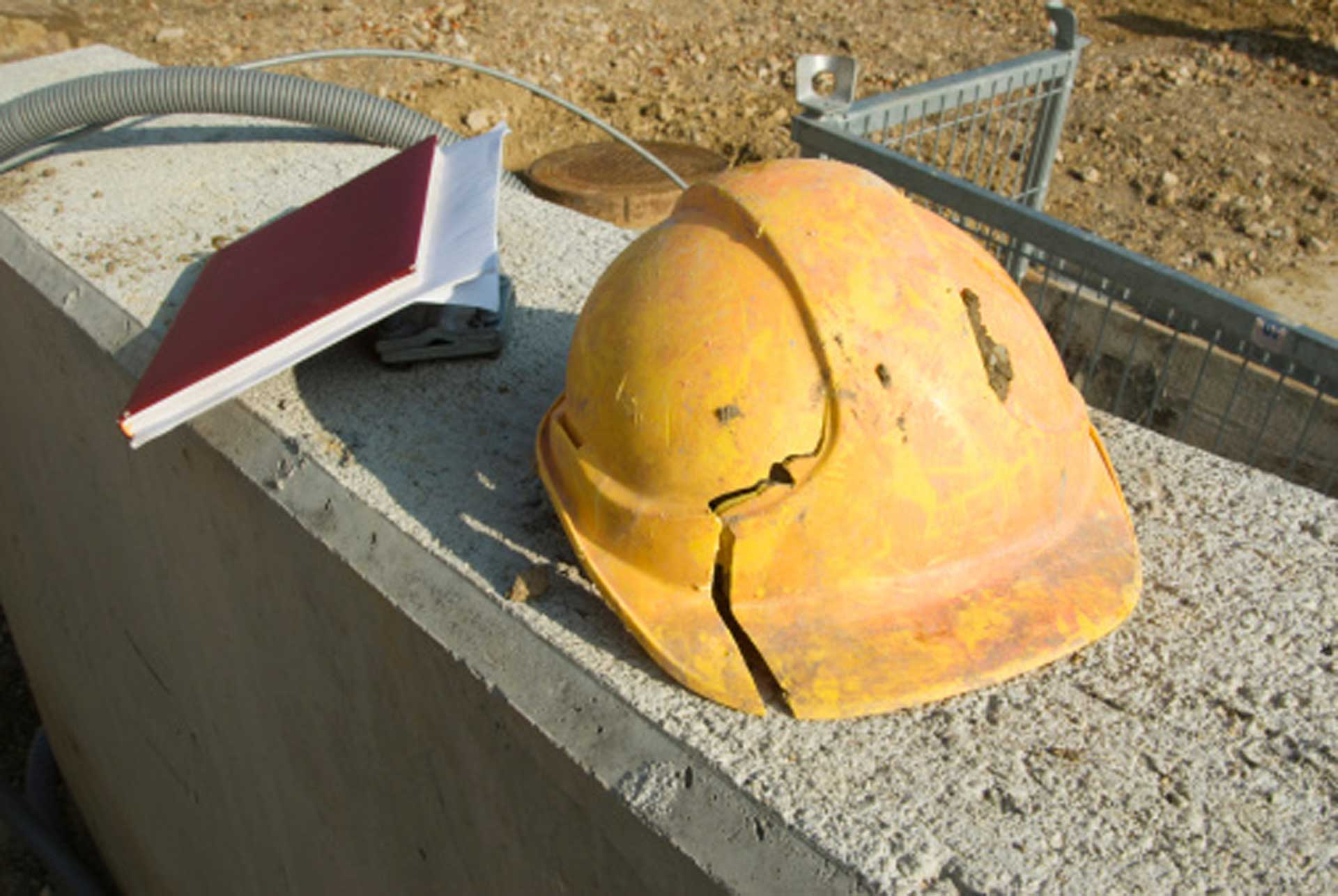 Cracked Hard Hat Stock Photo