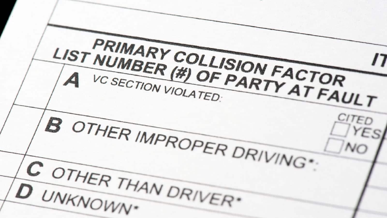 Car Collision Report Stock Photo