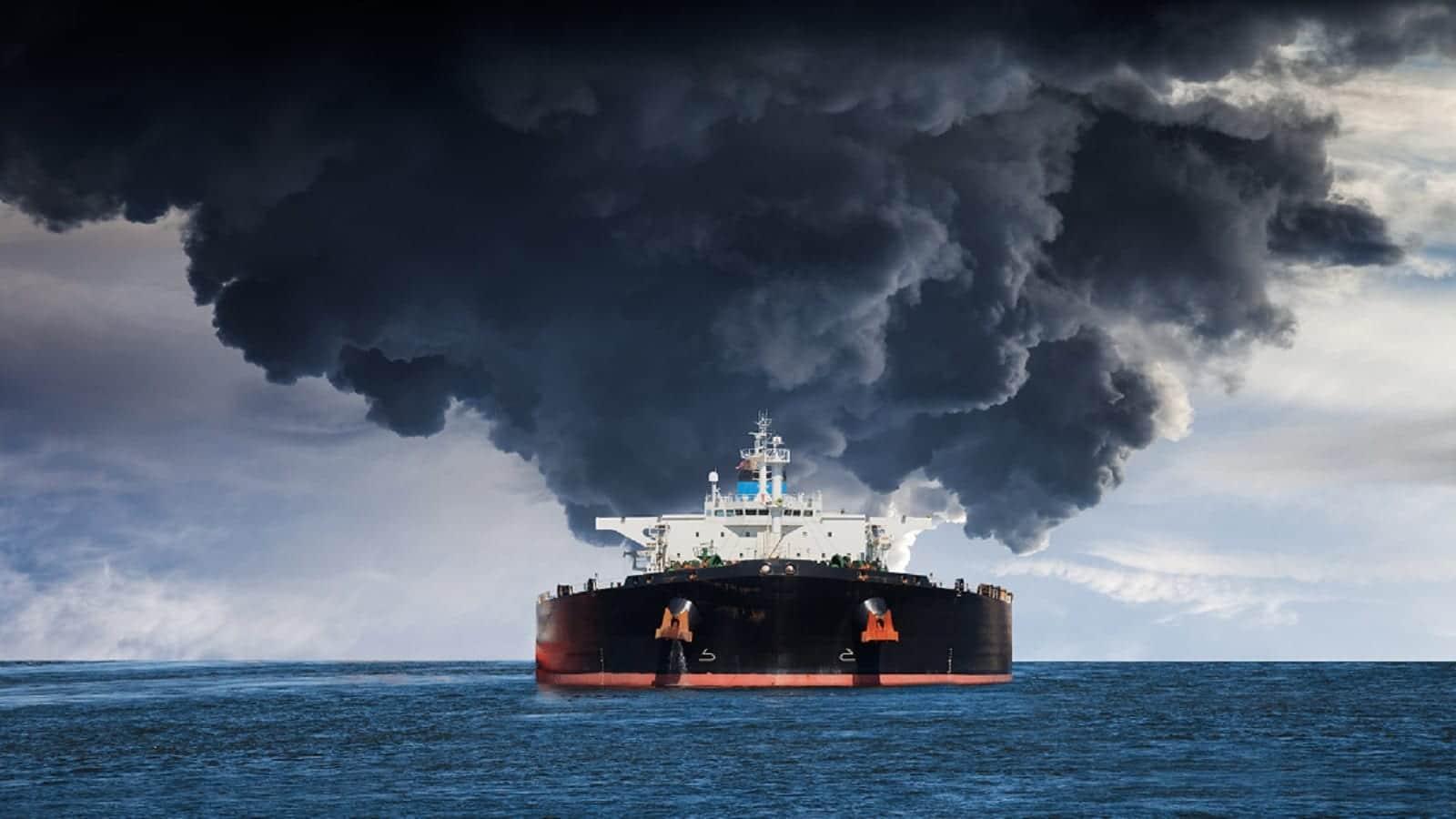Burning Tanker Ship Stock Photo