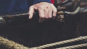 Sailor Seaman Scarred Hands Stock Photo