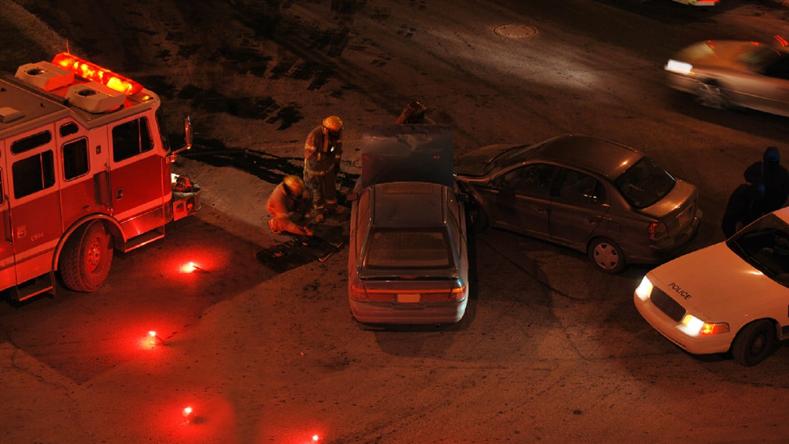 Car Accident Scene At Night Stock Photo