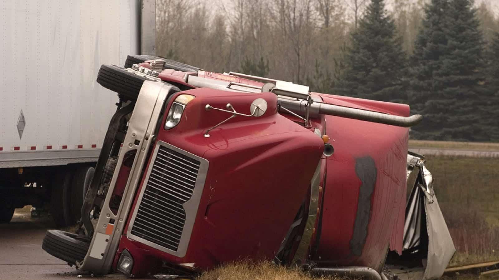 Jackknife Truck Accident Stock Photo