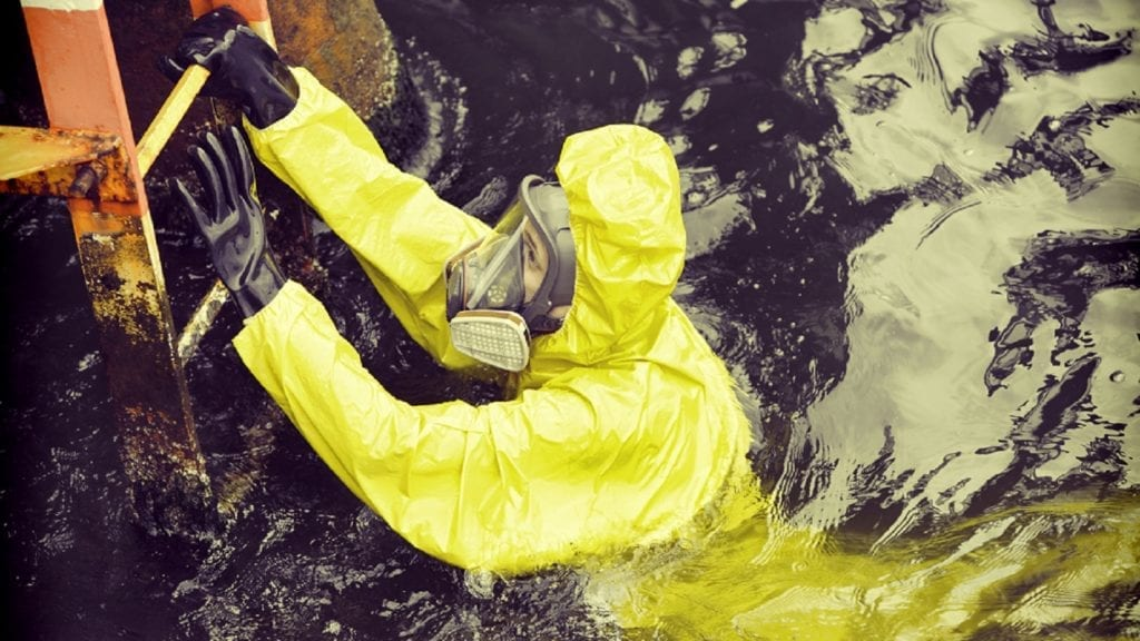 Maritime Worker In Bio Hazard Suit