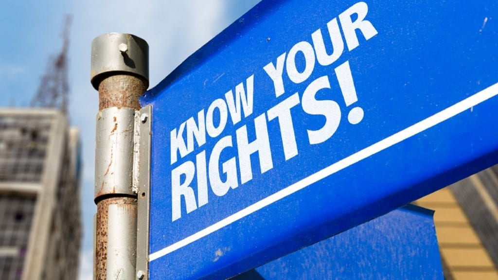 Know Your Rights Road Sign Stock Photo