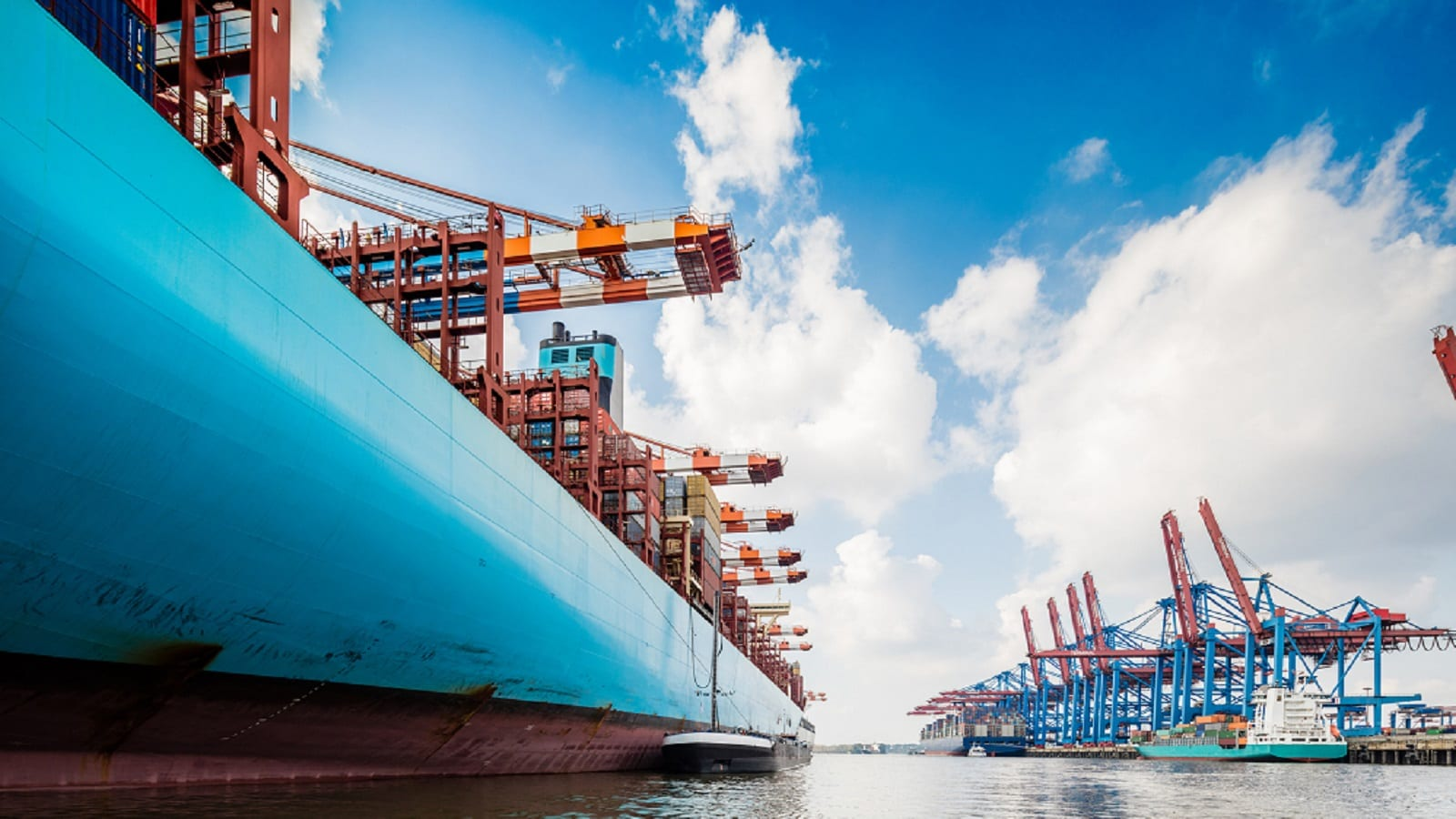 Large Cargo Vessel On The Water Stock Photo