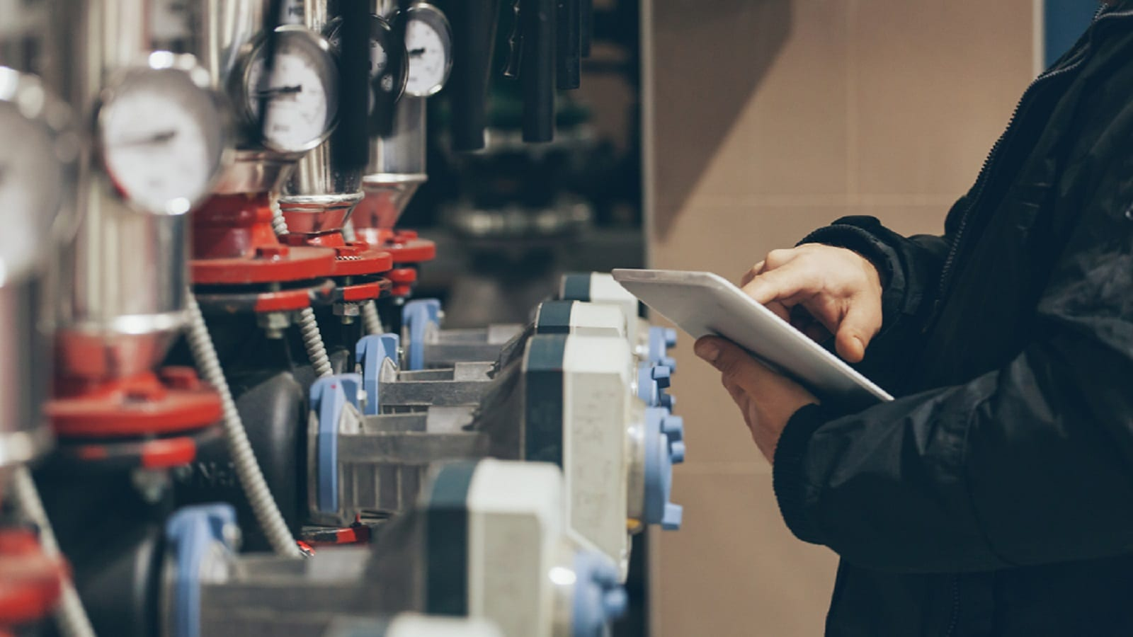 Maritime Engineer Working In A Boiler Room Stock Photo