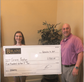 blaine barrilleaux scholarship winner fall 2019 grace payton