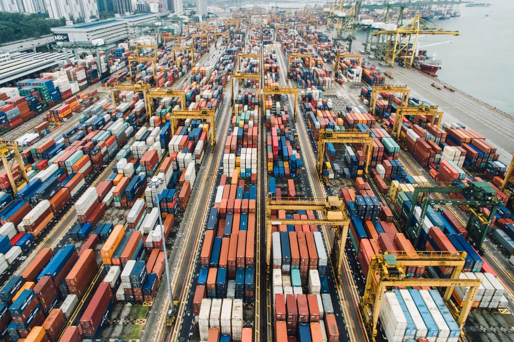 Aerial View of Shipping Yard Full of Shipping Containers