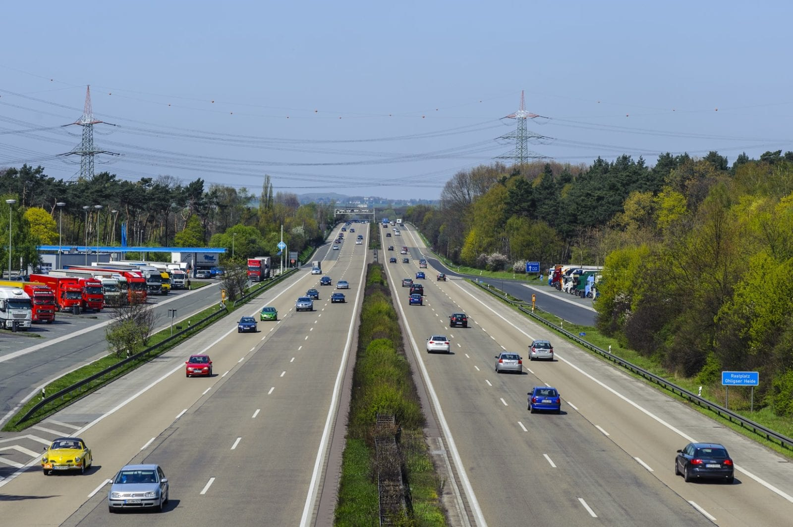 Aerial view of busy highway