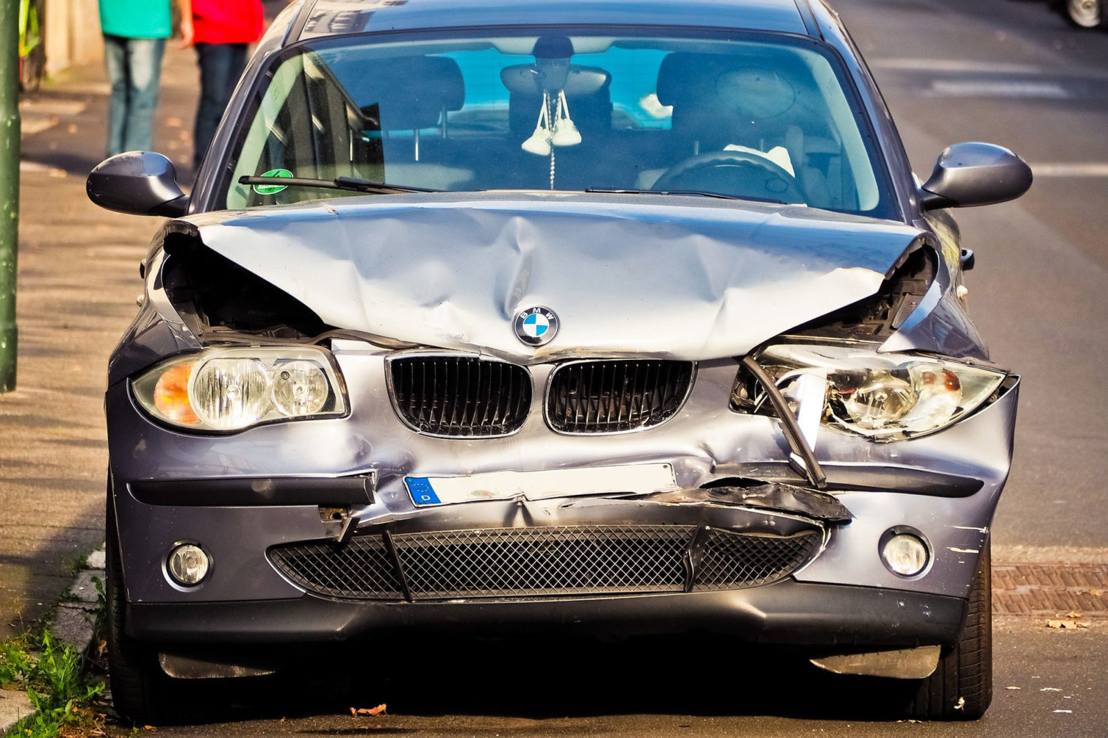 Front view of damaged car after accident