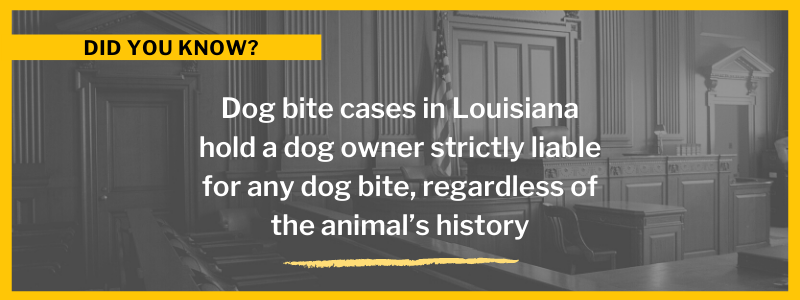 Dog Bite cases in Louisiana hold a dog owner strictly liable for any dog bite, regardless of the animal's history.