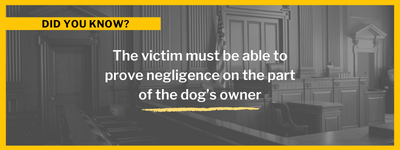 The victim must be able to prove negligence on the part of the dog's owner.