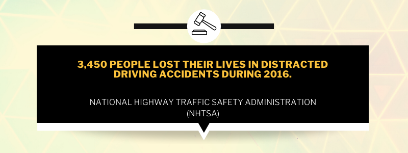 3,450 people lost their lives in distracted driving accidents during 2016