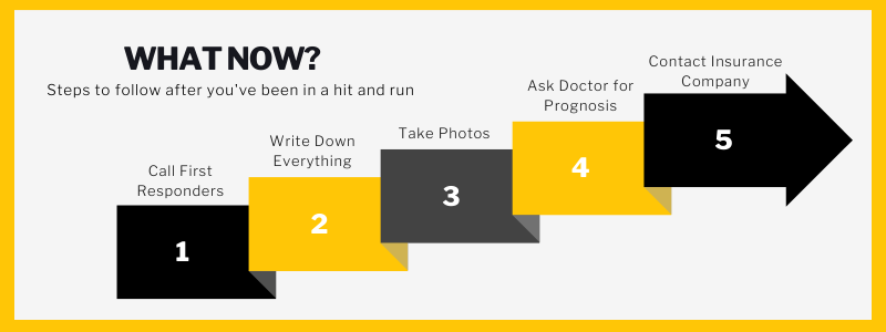 What Now?Steps to follow after you've been in a hit and run. Call first responders. Write everything down. Take photos. Ask doctor for prognosis. Contact Insurance company.