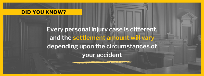 Every personal injury case is different, and the settlement amount will vary depending upon the circumstances of your accident