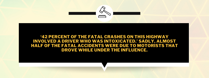 '42 percent of the fatal crashes on this highway involved a driver who was intoxicated.' Sadly, almost half of the fatal accidents were due to motorists that drove while under the influence.