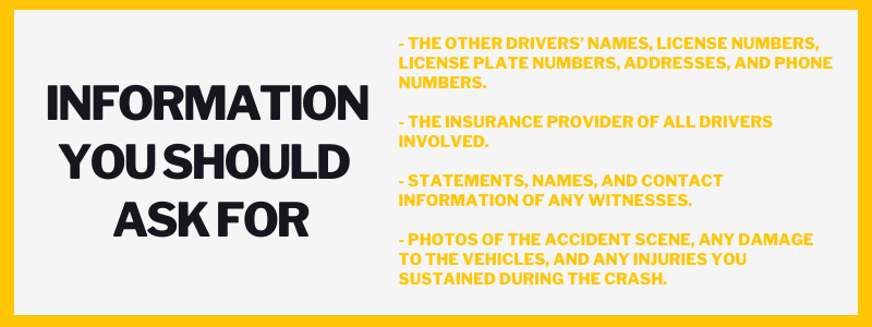 Information you should ask for - The other drivers' names, license numbers, license plate numbers, addresses, and phone numbers. - The insurance provider of all drivers involved. - Statements, names, and contact information of any witnesses. - Photos of the accident scene, any damage to the vehicles, and any injuries you sustained during the crash.