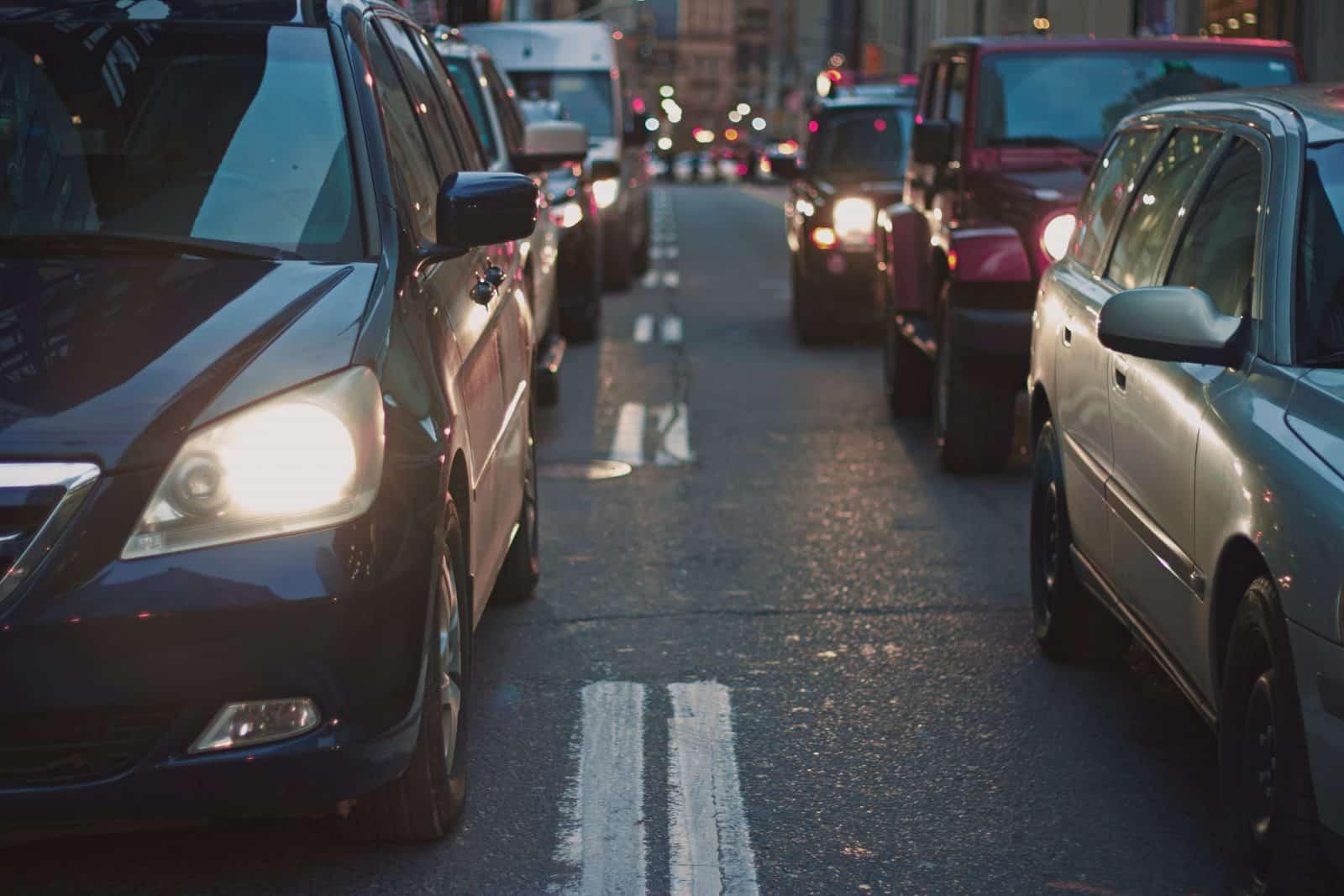 Cars in traffic.