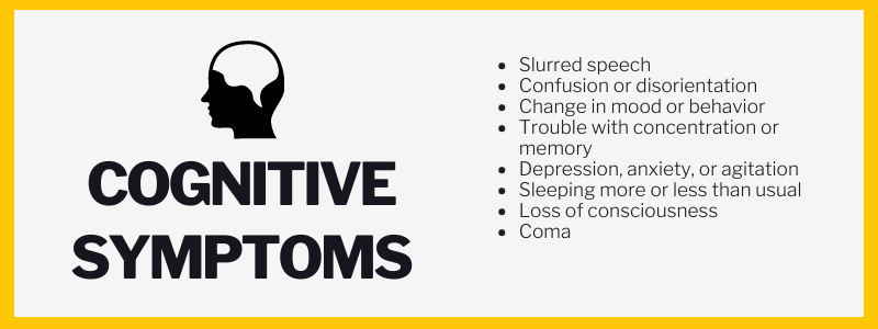 Cognitive Symptoms: Slurred speech, Confusion or disorientation, Change in mood or behavior, Trouble with concentration or memory, Depression, anxiety, or agitation, Sleeping more or less than usual, Loss of consciousness, Coma.
